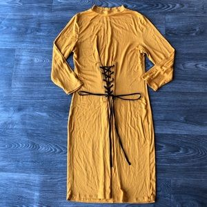 Hearts & Hips Front Corset Mustard Dress Large